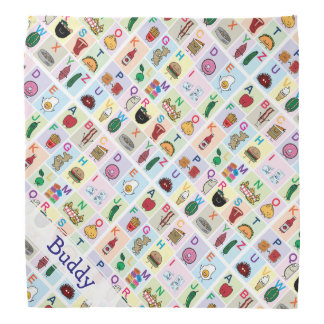 ABC Alphabet learning letters Happy Foods Design Bandana