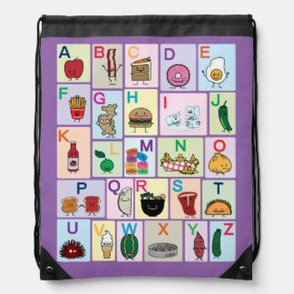 ABC Alphabet learning letters Happy Foods Design Drawstring Bag