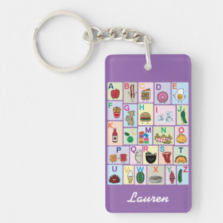 ABC Alphabet learning letters Happy Foods Design Key Ring