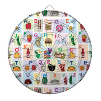 ABC Alphabet learning letters happy foods learn Dartboard With Darts