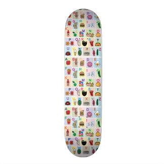ABC Alphabet learning letters happy foods learn Skateboard Deck