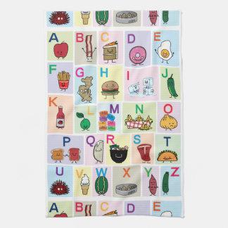 ABC Alphabet learning letters happy foods learn Tea Towel