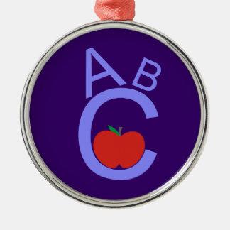 ABC Apple Silver-Colored Round Decoration