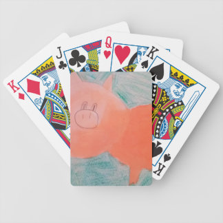#ABC Art by Children, Pink Orange Pig Bicycle Playing Cards