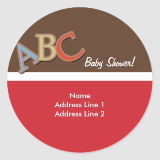 ABC Baby Shower Address Label / Envelope Seals Round Sticker
