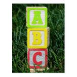 ABC Blocks In Grass Postcards