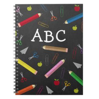 ABC Chalkboard Apple Rainbow Scissors Paper Clips Notebook