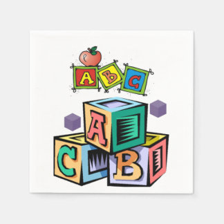 abc children's baby shower napkins first birthday disposable napkins