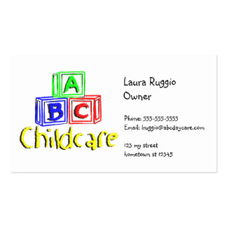 abc daycare 3 pack of standard business cards