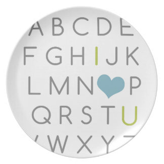 ABC I love you. green and light blue Party Plate