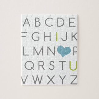 ABC I love you. green and light blue Puzzle