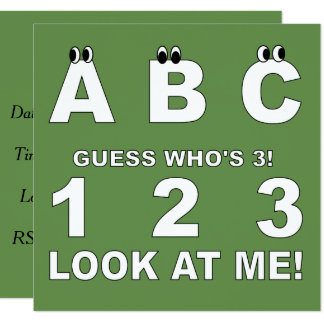 ABC Look who's 3 Print Card