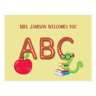ABC Neon Letters Bookworm Postcard