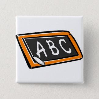 ABC On Blackboard 15 Cm Square Badge