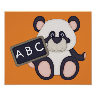 ABC School Panda Poster (orange background)
