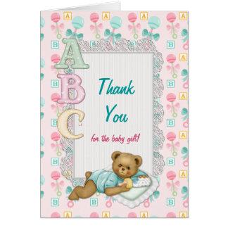 ABC Teddy Baby Shower Thank You Card