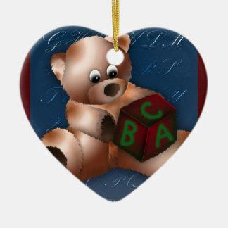 ABC TEDDY BEAR CERAMIC HEART DECORATION