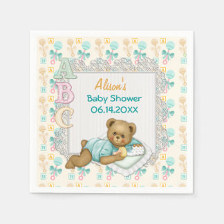 ABC Teddy Peach and Aqua Baby Shower Paper Napkins
