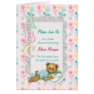 ABC Teddy Shower Invitation Note Card