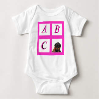 abc window pane rottweiler baby bodysuit