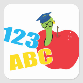 ABC Worm Square Sticker