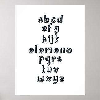 ABCD EFG HIJK ELEMENO PQRS TUV WXYZ : Alphabet Fun Poster