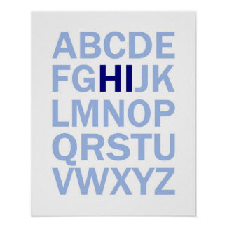 ABC's Alphabet poster that says HI