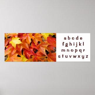 ABC's art poster banner Autumn Leaves Alphabet