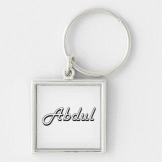 Abdul Classic Retro Name Design Silver-Colored Square Key Ring