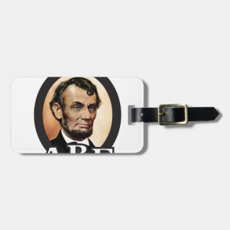 abe in an oval art luggage tag