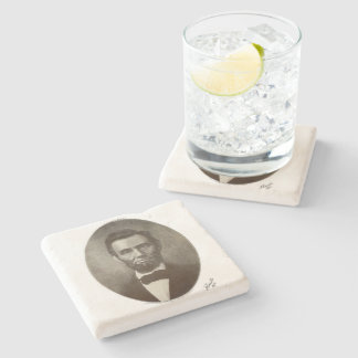 Abe Lincoln American President Vintage Portrait US Stone Coaster