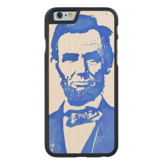 Abe Lincoln Pop Art Portrait in Blue Carved® Maple iPhone 6 Case