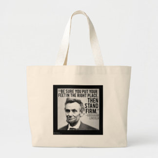 """Abe Lincoln & """"Stand Firm"""" Quote Large Tote Bag"""