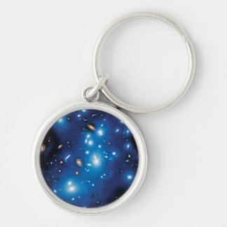 Abell 2744 Pandora Galaxy Cluster Space Photo Silver-Colored Round Key Ring