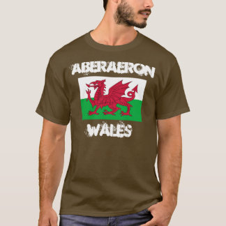 Aberaeron, Wales with Welsh flag T-Shirt