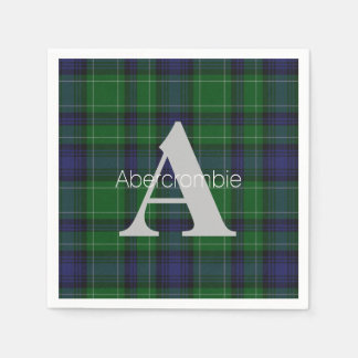 Abercrombie Clan Plaid Monogram Paper Napkins