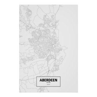 Aberdeen, Scotland (black on white) Poster