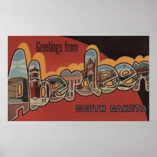 Aberdeen, South Dakota - Large Letter Scenes Poster
