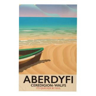 Aberdyfi, Ceredigion Wales vintage travel poster Wood Canvases