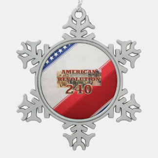 ABH American Revolution 240th Anniversary Snowflake Pewter Christmas Ornament