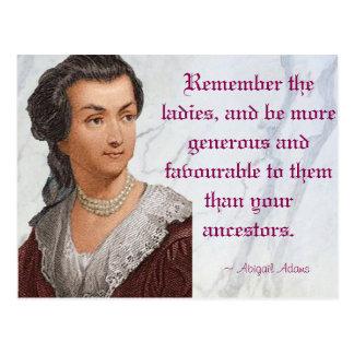 Abigail Adams - Remember the Ladies Postcard