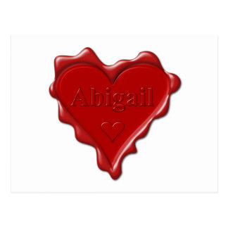 Abigail. Red heart wax seal with name Abigail Postcard