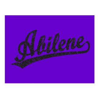 Abilene script logo in black distressed postcard