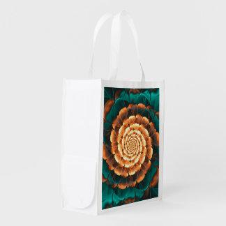 Abloom in Golden-Aqua Petals of a Fractal Sun Rose Reusable Grocery Bag