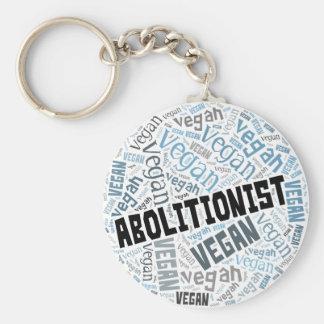 """Abolitionist Vegan"" Word-Cloud Mosaic Basic Round Button Key Ring"