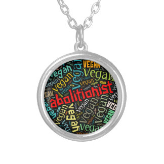 """""""Abolitionist Vegan"""" Word-Cloud Mosaic Silver Plated Necklace"""