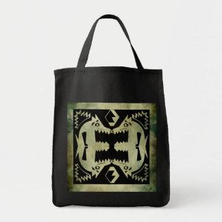 aboriginal african symbolic linocut canvas bag