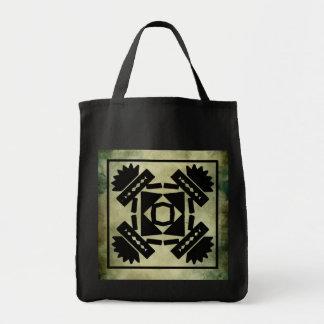aboriginal african symbolic linocut tote bags