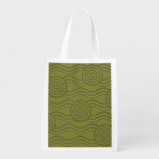 Aboriginal art bush reusable grocery bag