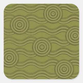 Aboriginal art bush square sticker